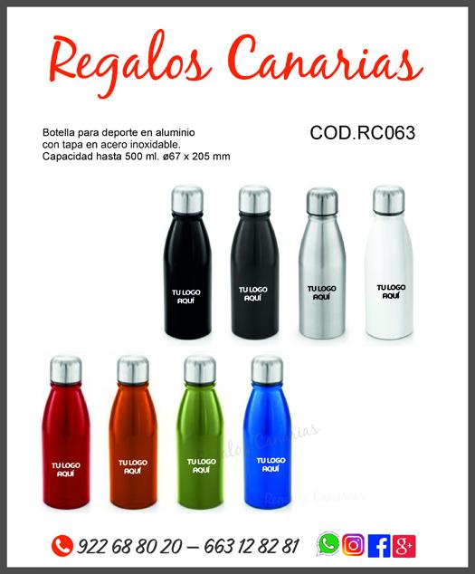 botellas, aluminio, reutilizable, serigrafía, personazilados, canarias, eventos, merchandising, canarias, regalos,